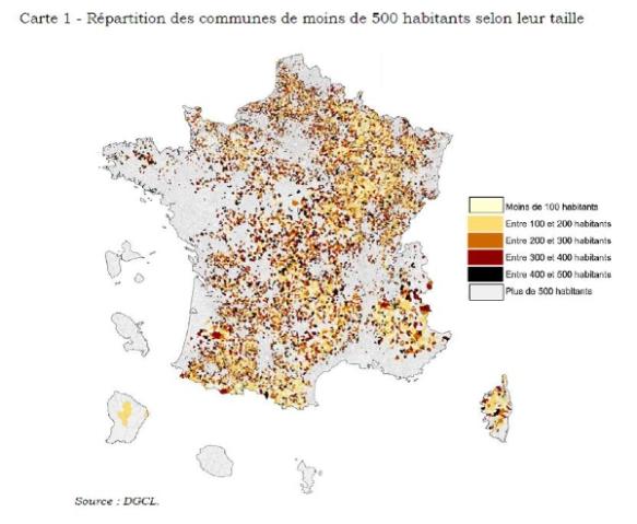 Les communes de moins de 500 habitants